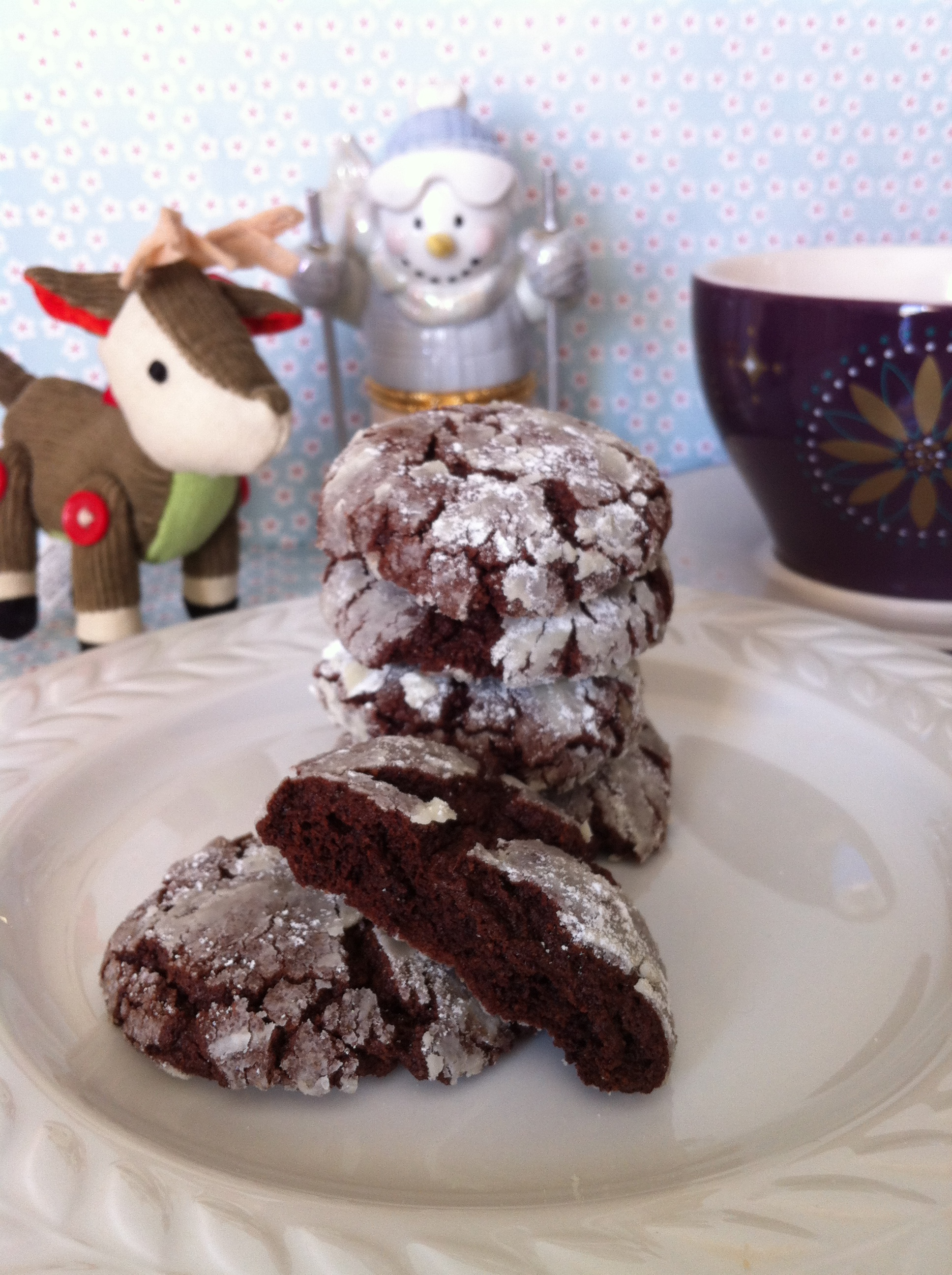 gluten free Christmas chocolate snowball cookies
