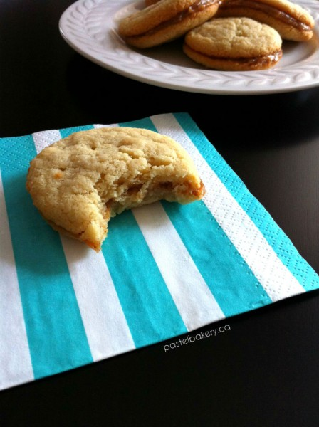 Gluten Free Vegan Almond Cookies with Salted Caramel Filling | pastelbakery.ca
