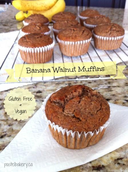 Gluten Free Vegan Banana Walnut Muffins-1 | pastelbakery.ca