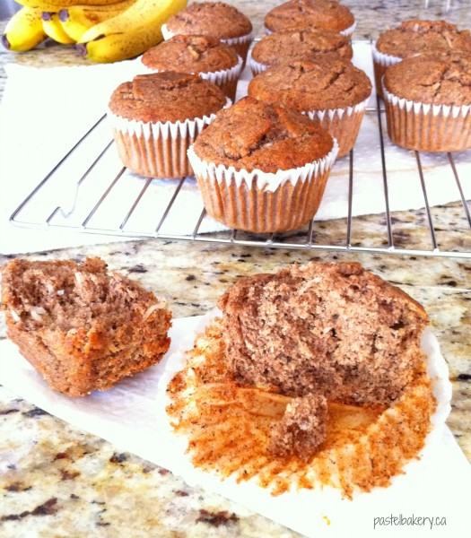 Gluten Free Vegan Banana Walnut Muffins-2 | pastelbakery.ca